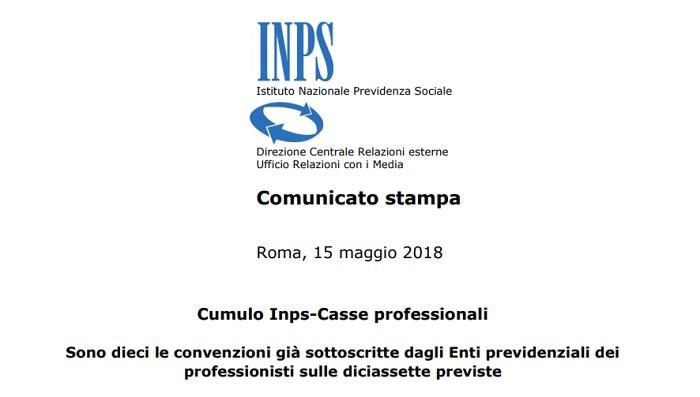 Cumulo contributi Inps: nuove convenzioni 2018