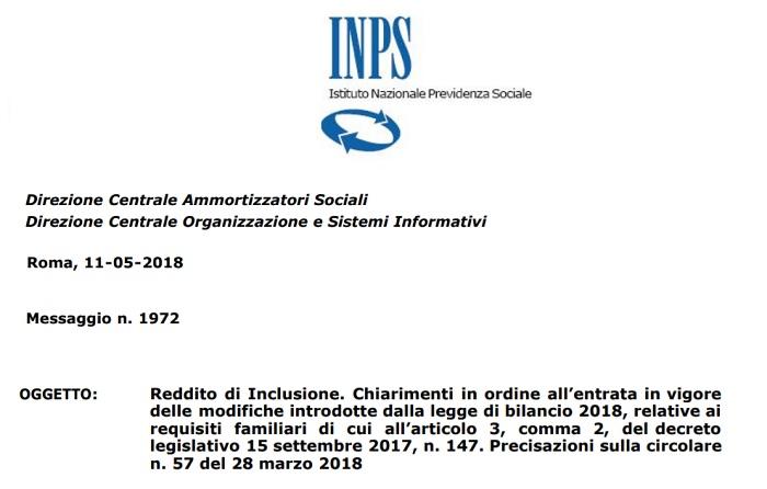 Reddito di inclusione: nuovi requisiti dal 1° giugno