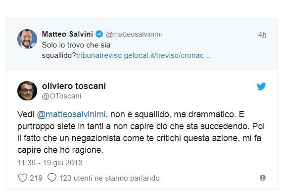 Governo ultime notizie 'Salvini 40 anni in galera', Toscani show