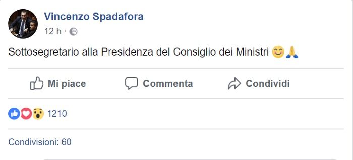 Vincenzo Spadafora sottosegretario