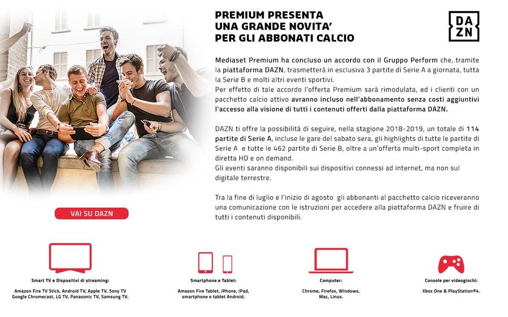 Serie A, UFFICIALE: le tre partite DAZN su Premium