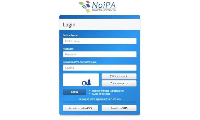 NoiPa cedolino luglio stipendio online