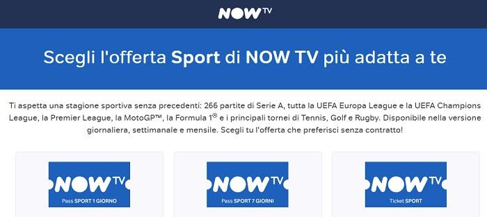 iOfferte Now TV Calcio Serie A e Champions League