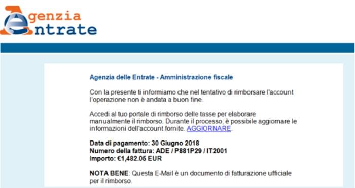 False mail dall'Agenzia dell'Entrate: attenzione alla truffa