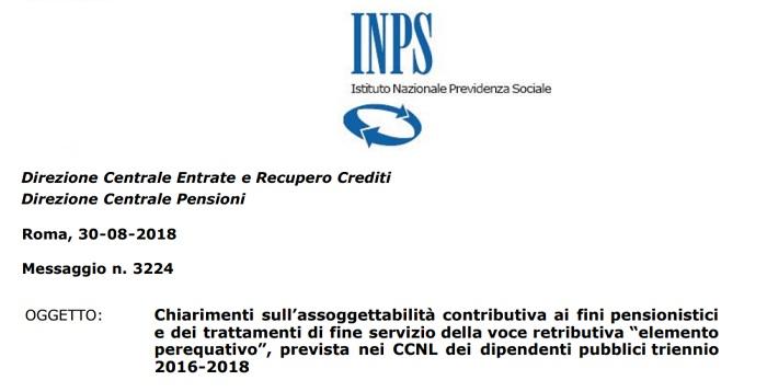 Aumento stipendio ed elemento perequativo: circolare Inps