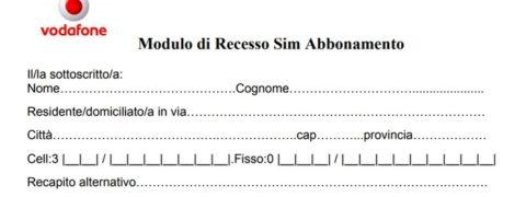 Disdetta Vodafone mobile e fisso modulo pdf