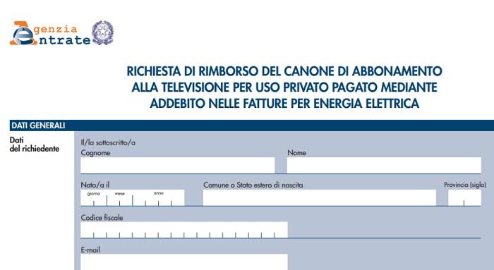 Canone Rai: rimborso pagamento, modello domanda