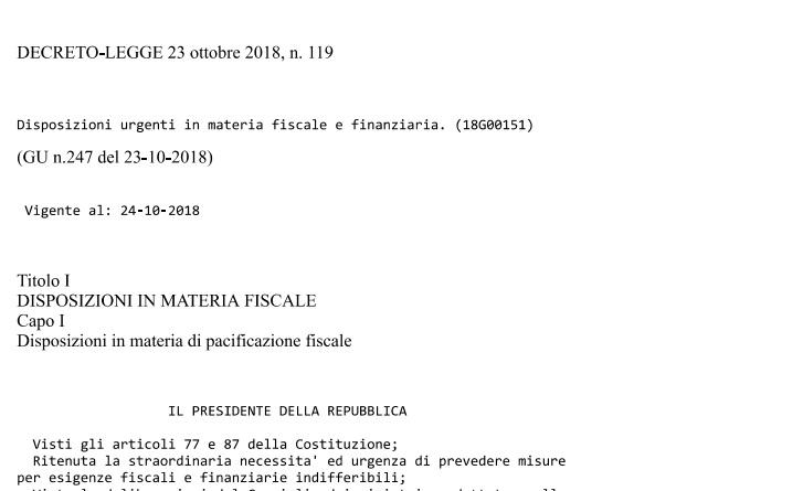 Decreto fiscale 2019 Rottamazione Ter e Pace fiscale, il testo ufficiale pdf