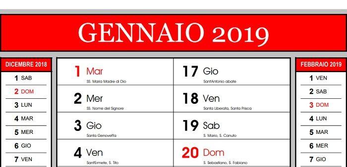 Calendario Luglio 2020 Da Stampare.Calendario 2019 Da Stampare Con Festivita E Santi In Pdf Gratis