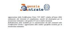 CU 2019: istruzioni e scadenza, la circolare di Agenzia dell