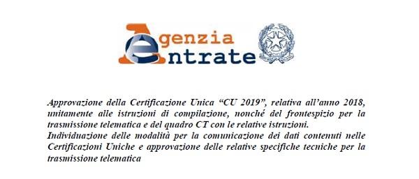 CU 2019 istruzioni e scadenza, la circolare di Agenzia delle Entrate