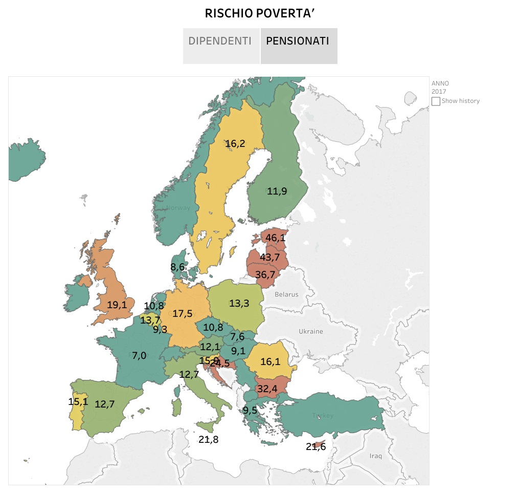 Rischio povertà per dipendenti e pensionati in Europa - le infografiche
