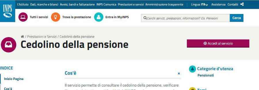 il cedolino pensione inps on line