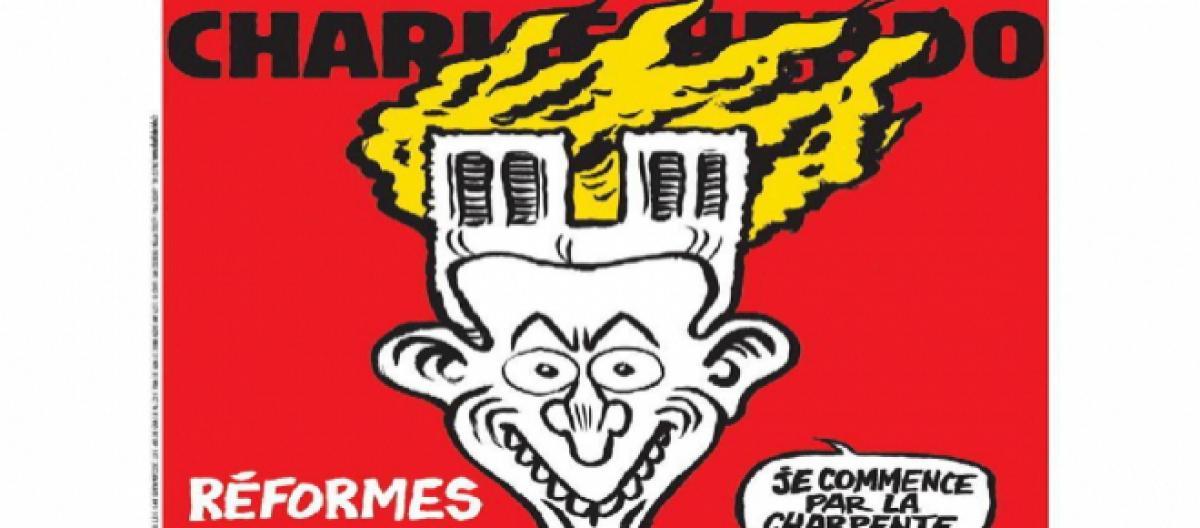 Charlie Hebdo su Notre Dame vignetta ironica contro Macron, l'immagine