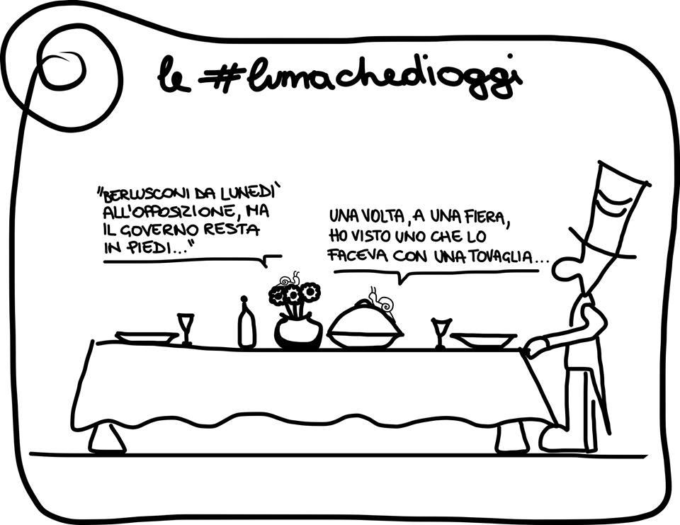 La vignetta di Giovanni Laccetti #lumachedioggi Berlusconi e Governo