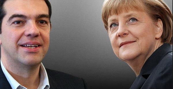 sulla sinistra tsipras e sulla destra angela merkel