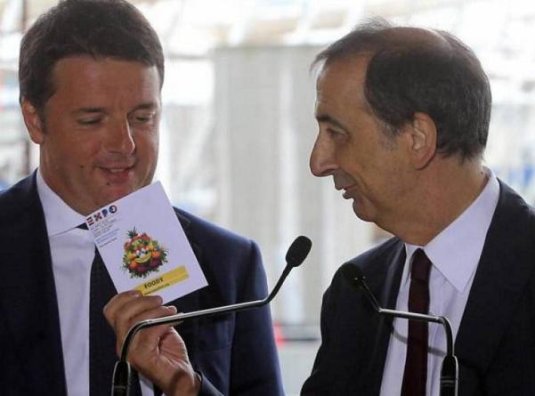sala candidato sindaco affianco a renzi mentre gli consegna un documento di expo