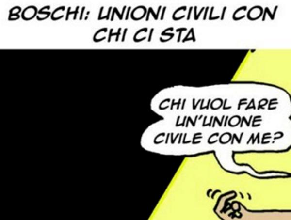 vignetta boschi la satira sulle unioni civili pubblicata dal mattinale