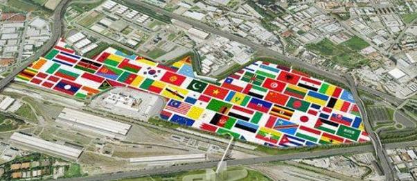 area expo, ricerca scientifica, milano, immagine dell'area che ha ospitato expo con le bandiere dei paesi presenti per singolo padiglione