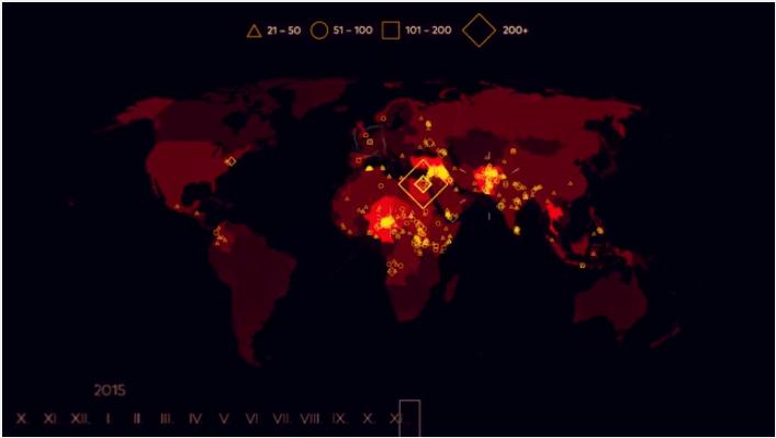 attacchi terroristici, mappa del mondo con gli attacchi