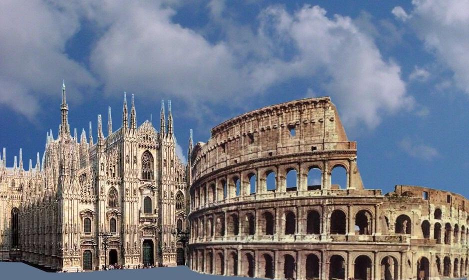 sondaggi elezioni Milano e Roma, immagine del Colosseo e del Duomo di Milano