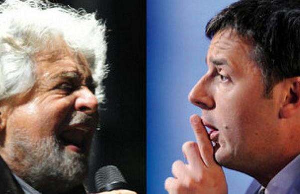 sondaggi politici, sondaggi elettorali, Renzi, Pd, M5S, Grillo, a sinistra foto di Beppe Grillo al microfono e a destra Renzi che indica il gesto del silenzio
