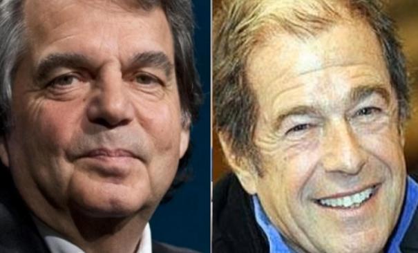 a sinistra Renato Brunetta e nel fotomontaggio a destra in primo piano Giovanni Minoli