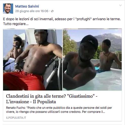 La gaffe di Salvini sui profughi