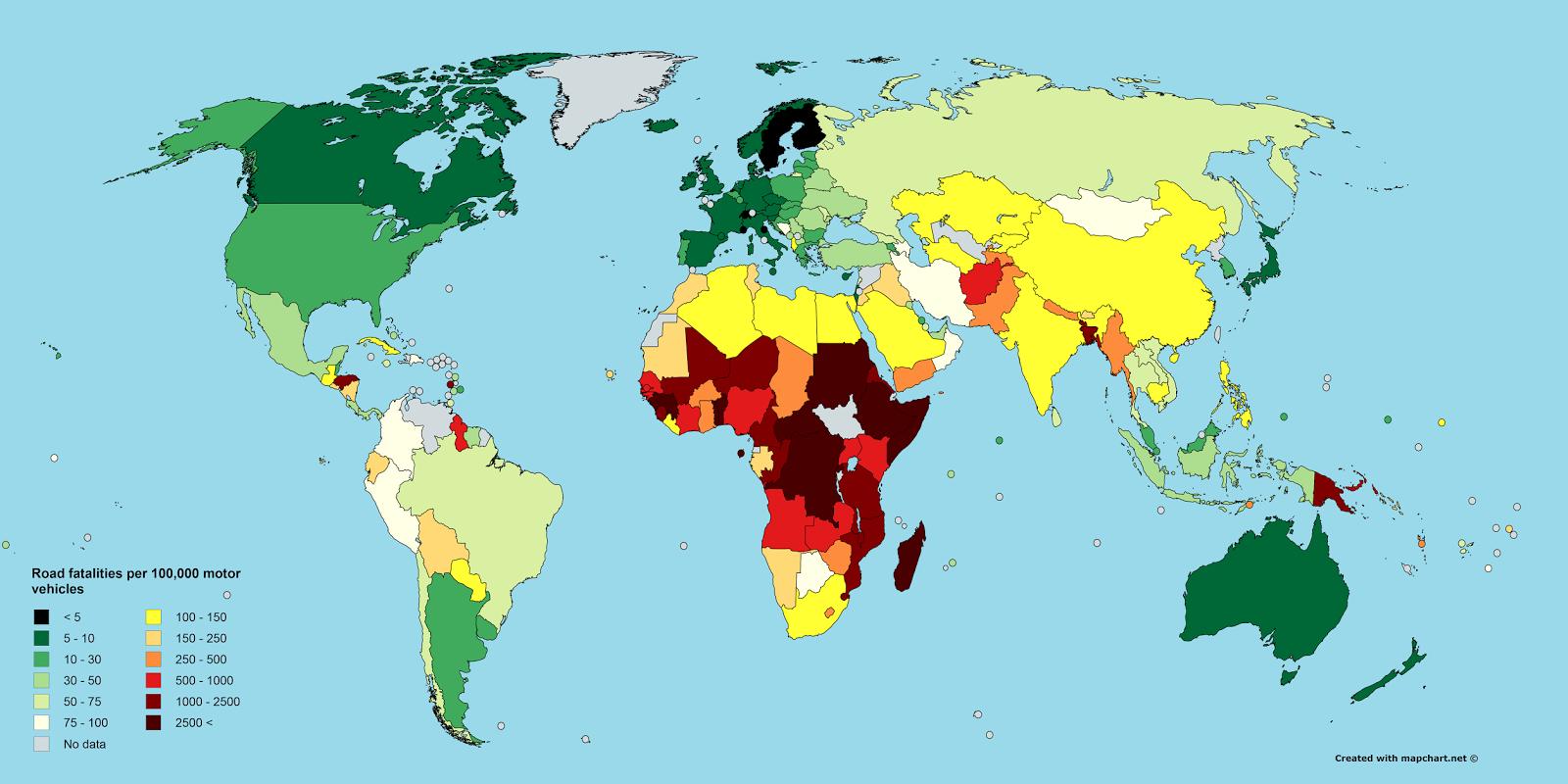 incidenti stradali, mappa mondiale