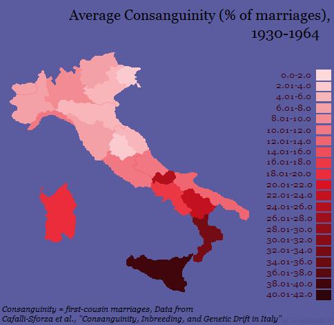 sposarsi tra cugini, mappa dell'Italia