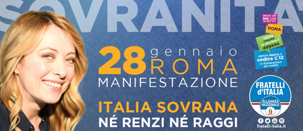 Italia Sovrana, manifesto con volto della Meloni