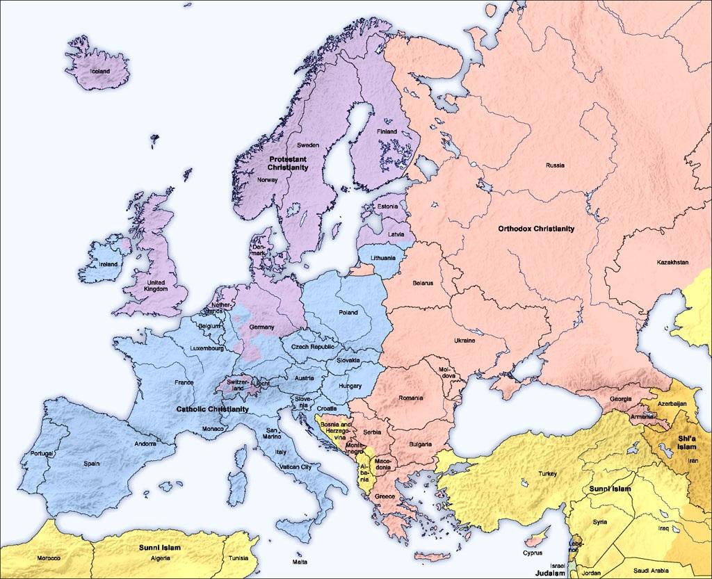 Cartina Nord Mondo.Mappe Del Mondo Le Maggioranze Religiose In Europa Nord Africa E Medio Oriente