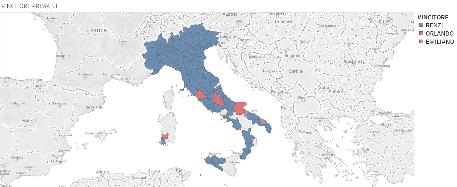 Primarie PD, mappa d'Italia