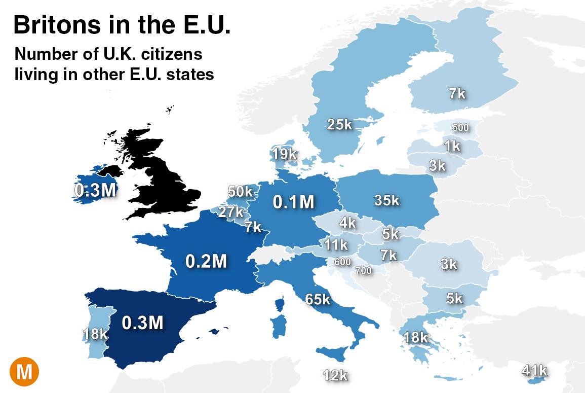 brexit, mappa Europa in blu