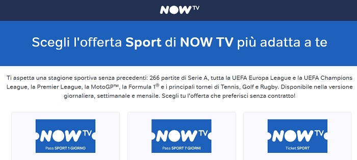 iOfferte Now TV Calcio Serie A e Champions League