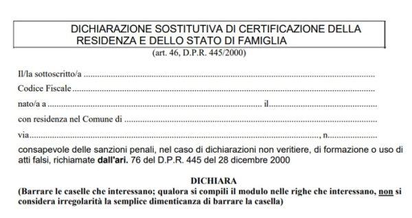 AUTOCERTIFICAZIONE DI STATO DI FAMIGLIA