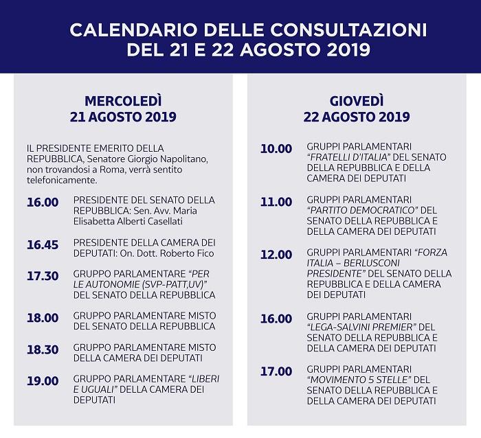 Consultazioni Mattarella 21 agosto 2019: governo forte o vot