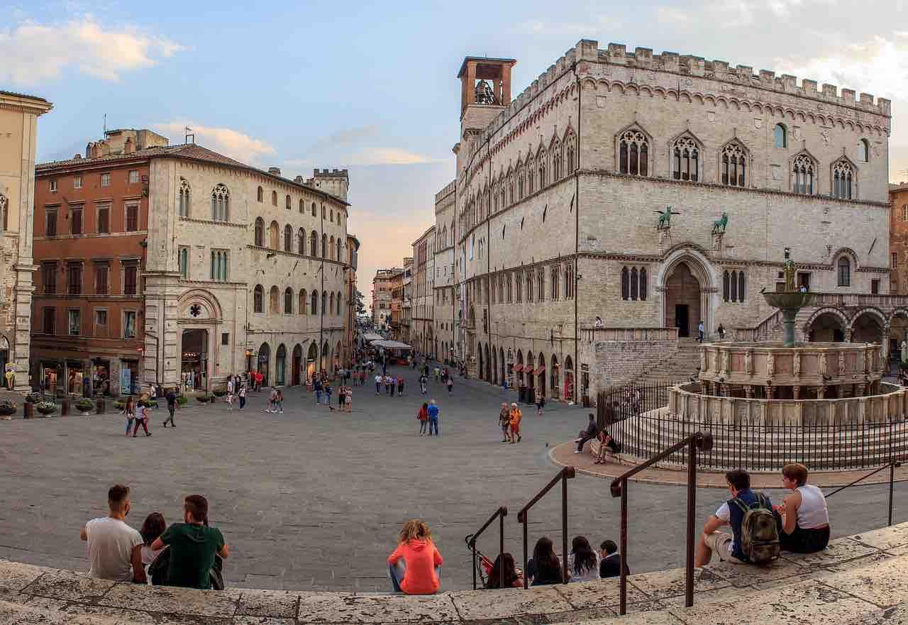 Vista piazza di Perugia
