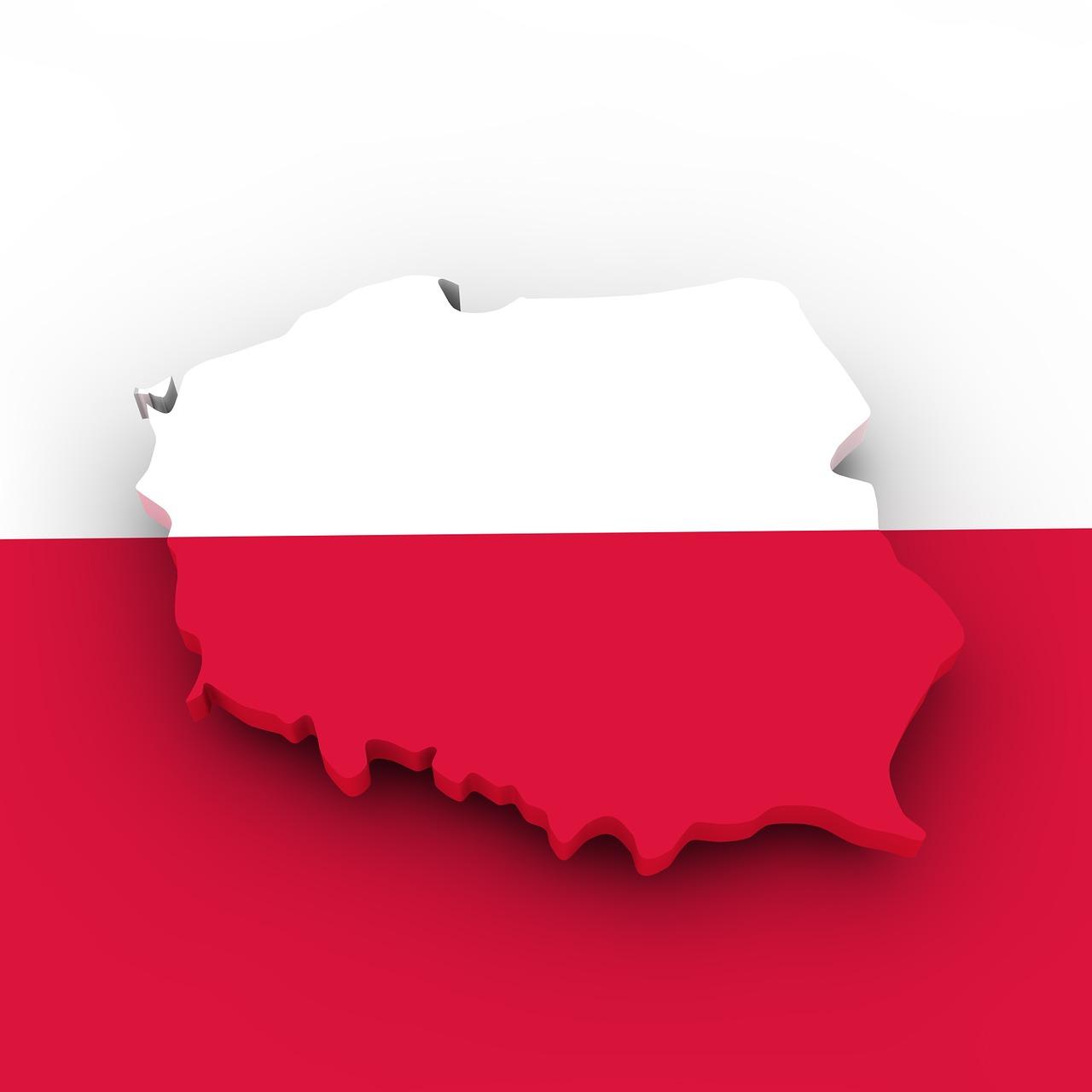 confini polonia su sfondo bianco rosso