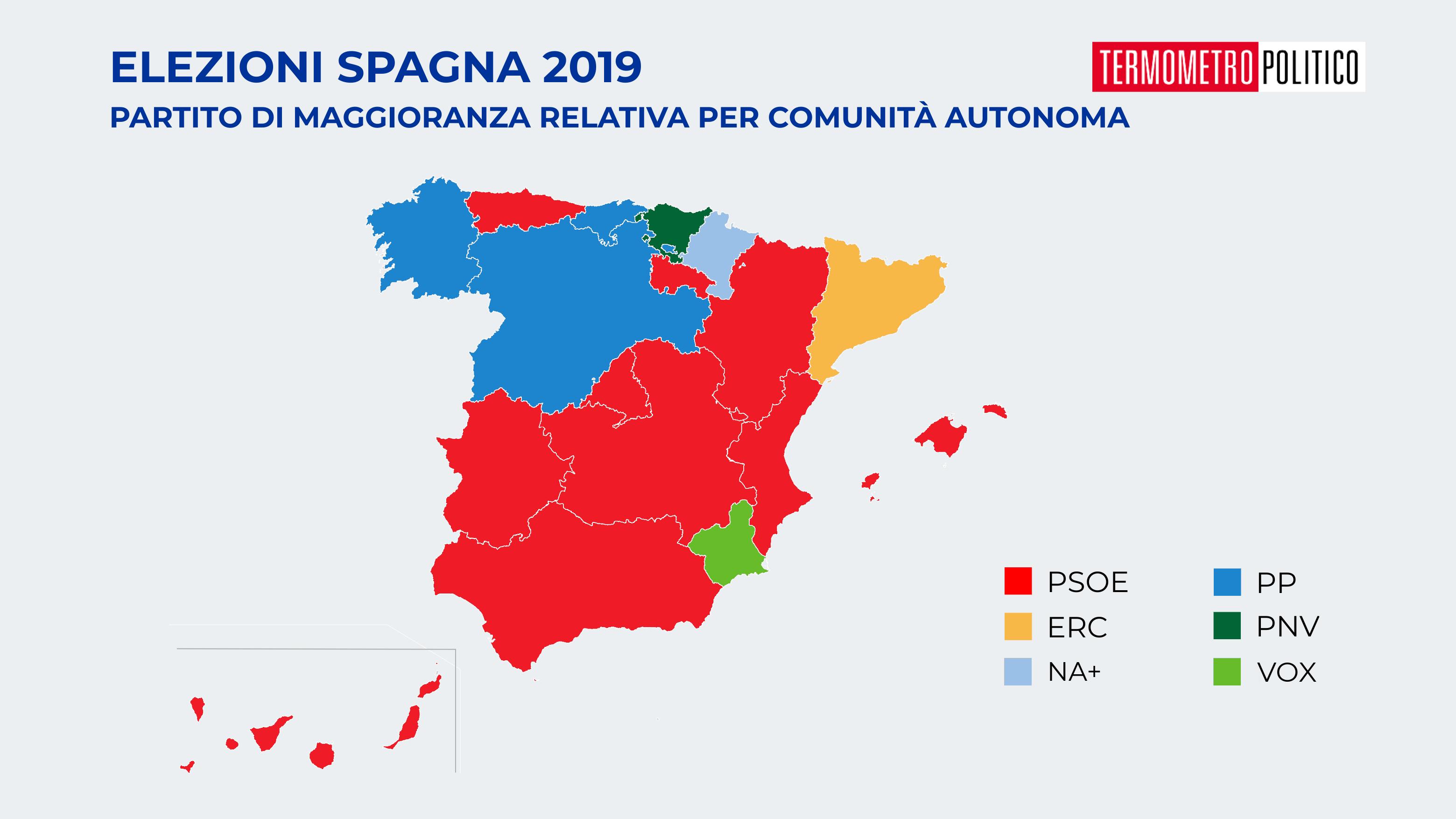 Elezioni Spagna, mappa risultati