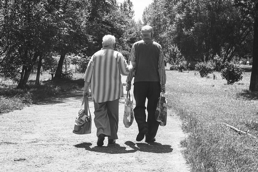 Due anziani di spalle mentre passeggiano lungo un viale