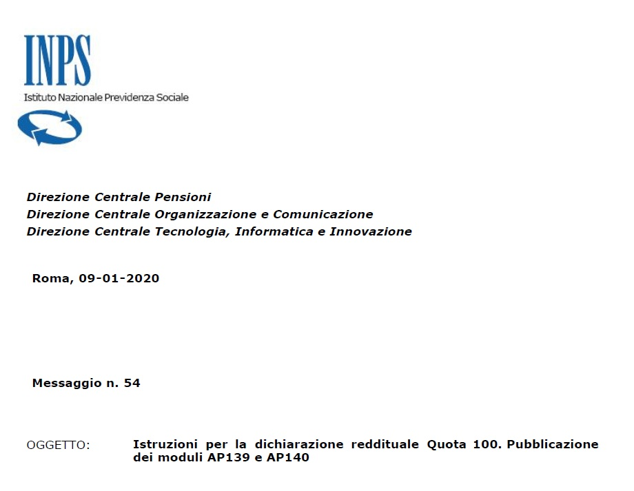 Screenshot documento Inps