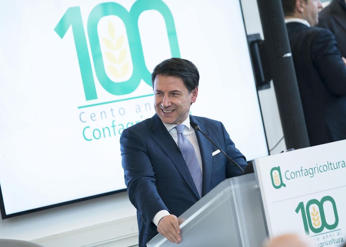 Il presidente del Consiglio Giuseppe Conte durante una iniziativa pubblica