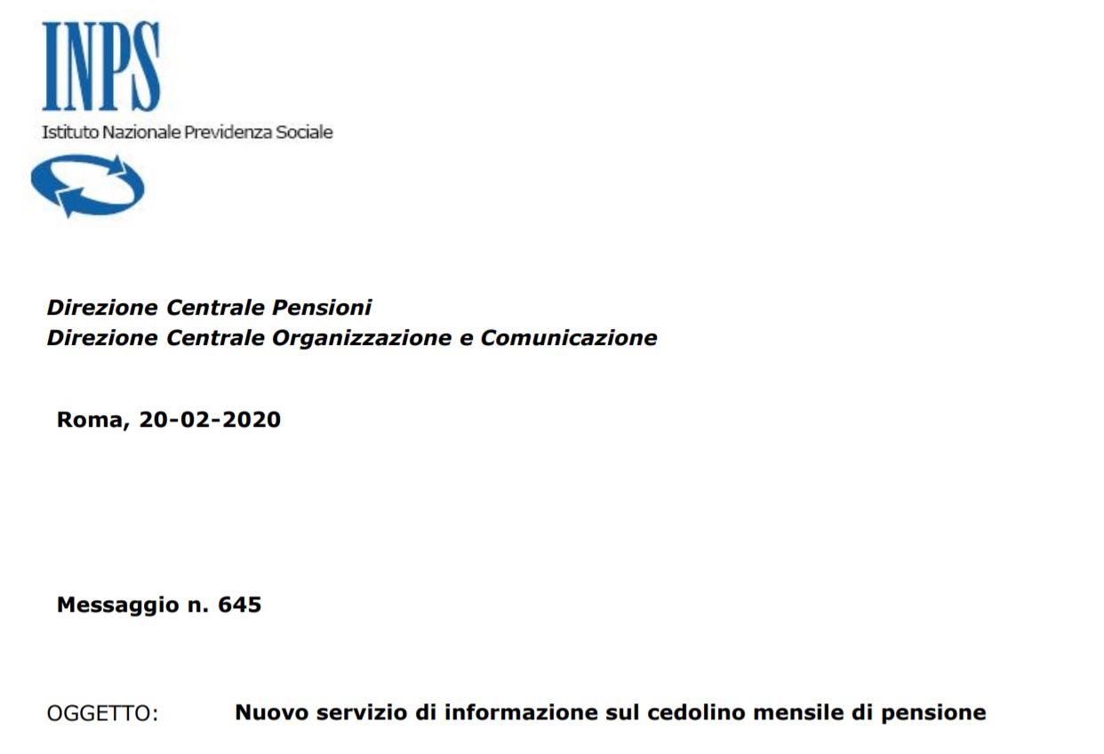 Cedolino pensione Inps nuove informazioni online