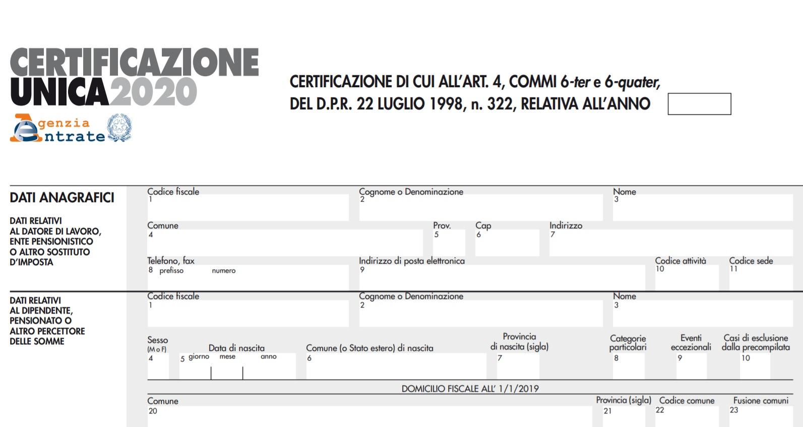 Certificazione Unica 2020 su NoiPa