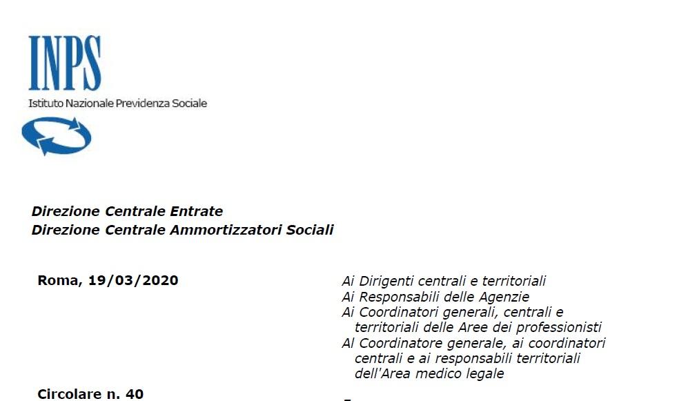 Screen documento Inps Circolare n. 40/2020