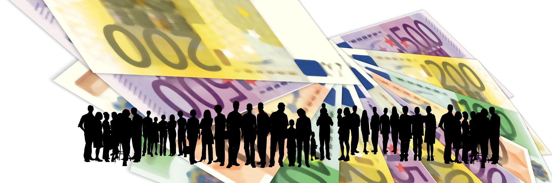 collettività,, famiglie con dietro il denaro