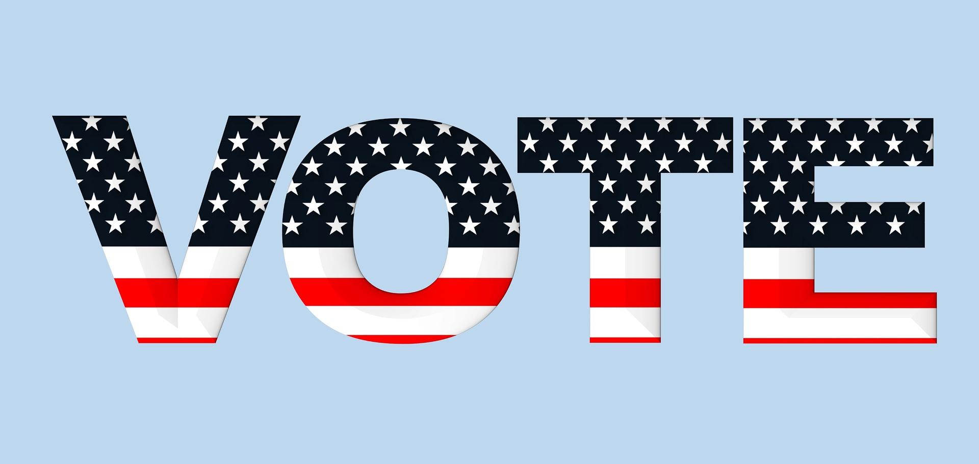 """Scritta """"Vote"""" a stelle e strisce"""