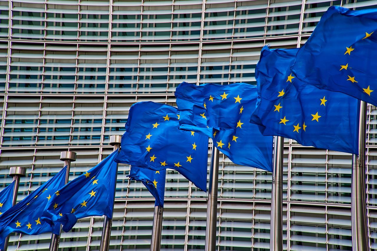 bandiere europee in fila davanti il grattacielo grigio della Commissione europea a Bruxells