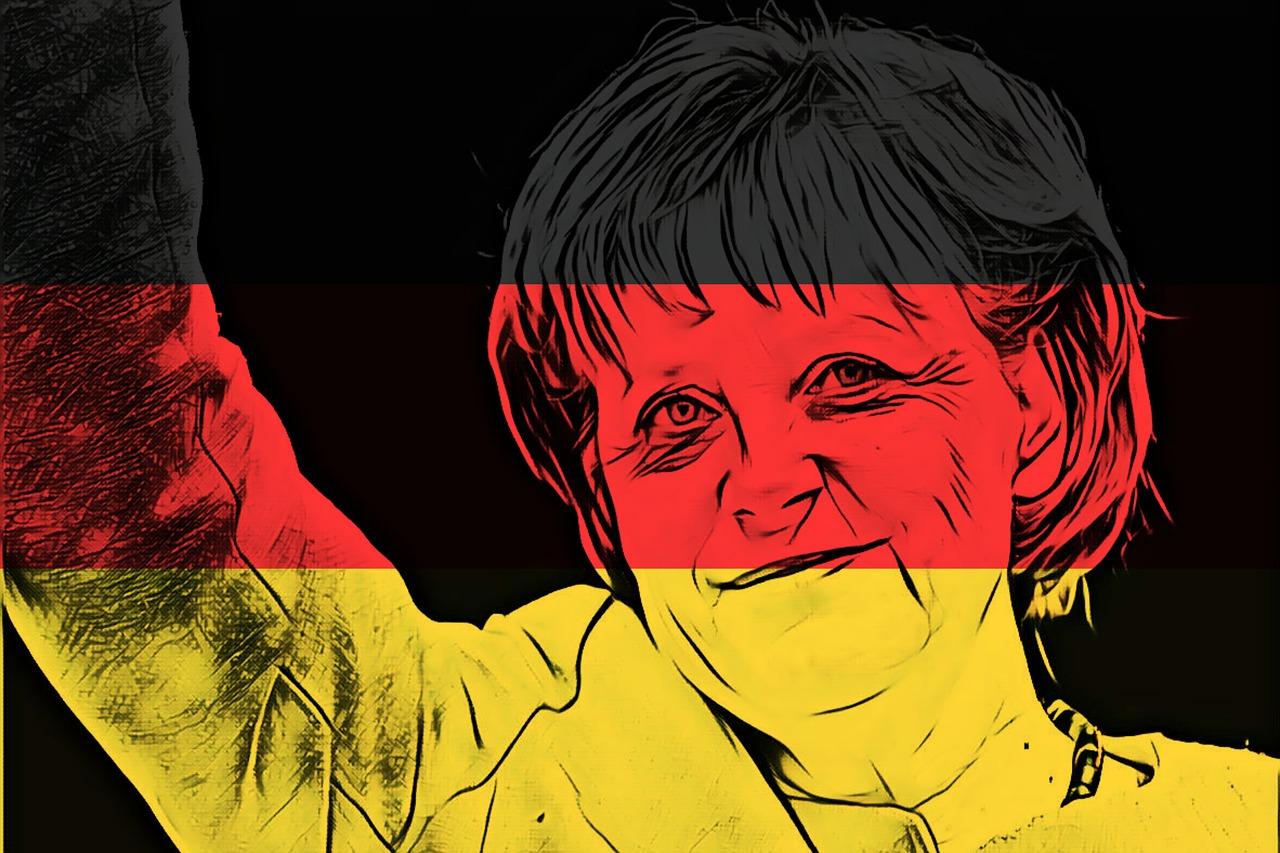 Merkel con sfondo i colori della bandiera tedesca
